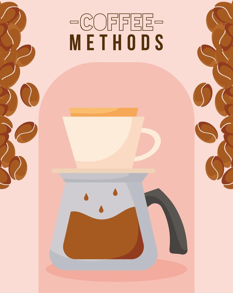 Kaffeemethoden mit Vektorentwurf der Kanne, der Tasse und der Bohnen vektor