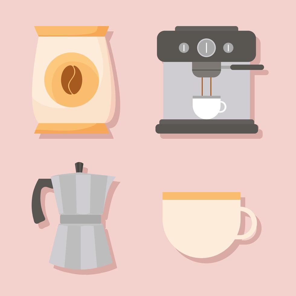 Kaffeemethoden Icon Set vektor
