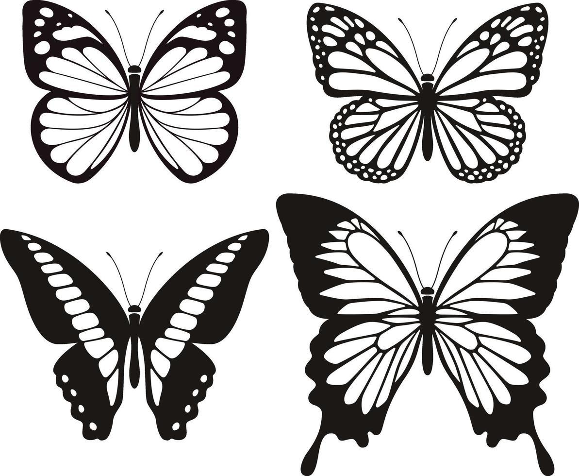 Schmetterlingsschattenbildikonen eingestellt. Vektorabbildungen. vektor