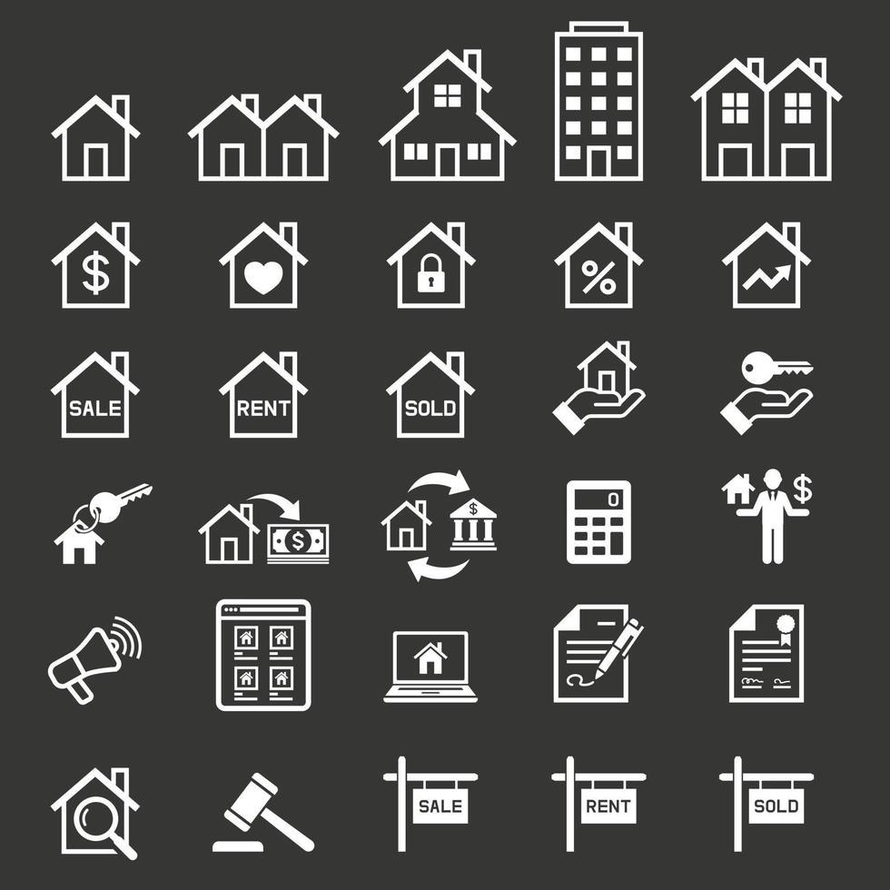 fastighetsikoner. vektor illustrationer.