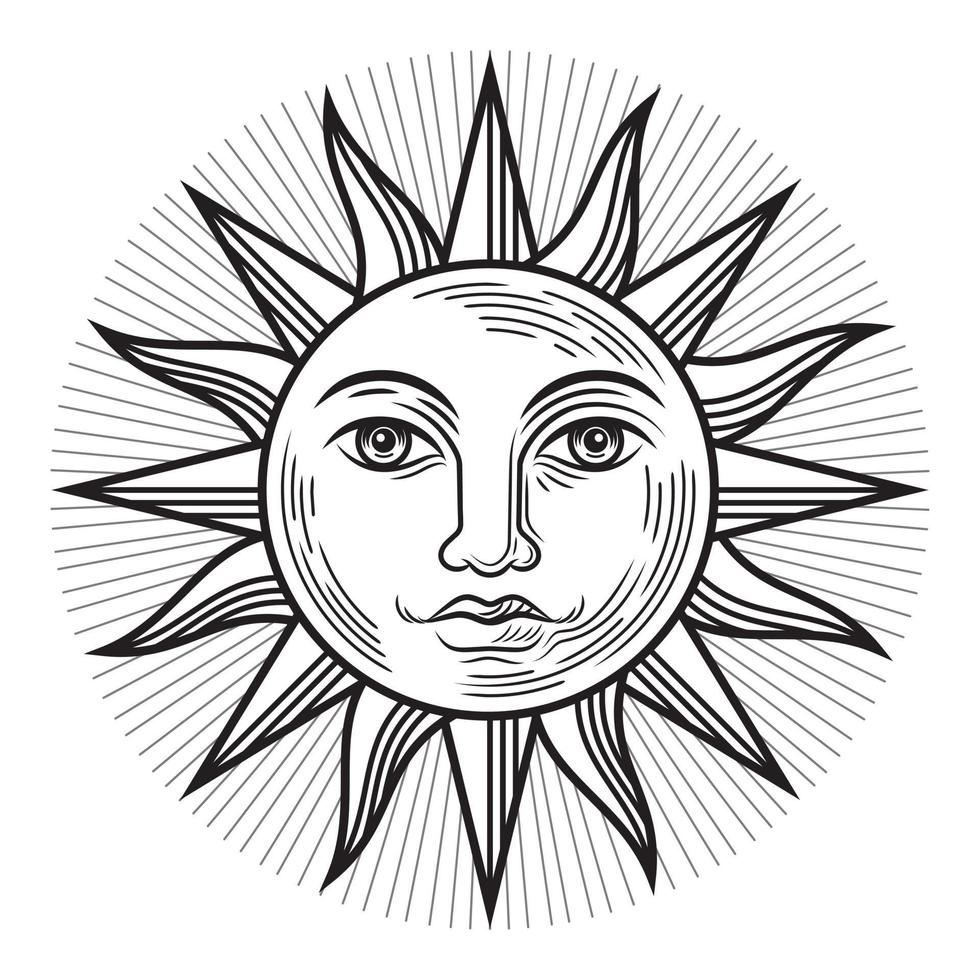 vintage sun antik symbol. vektor illustrationer.