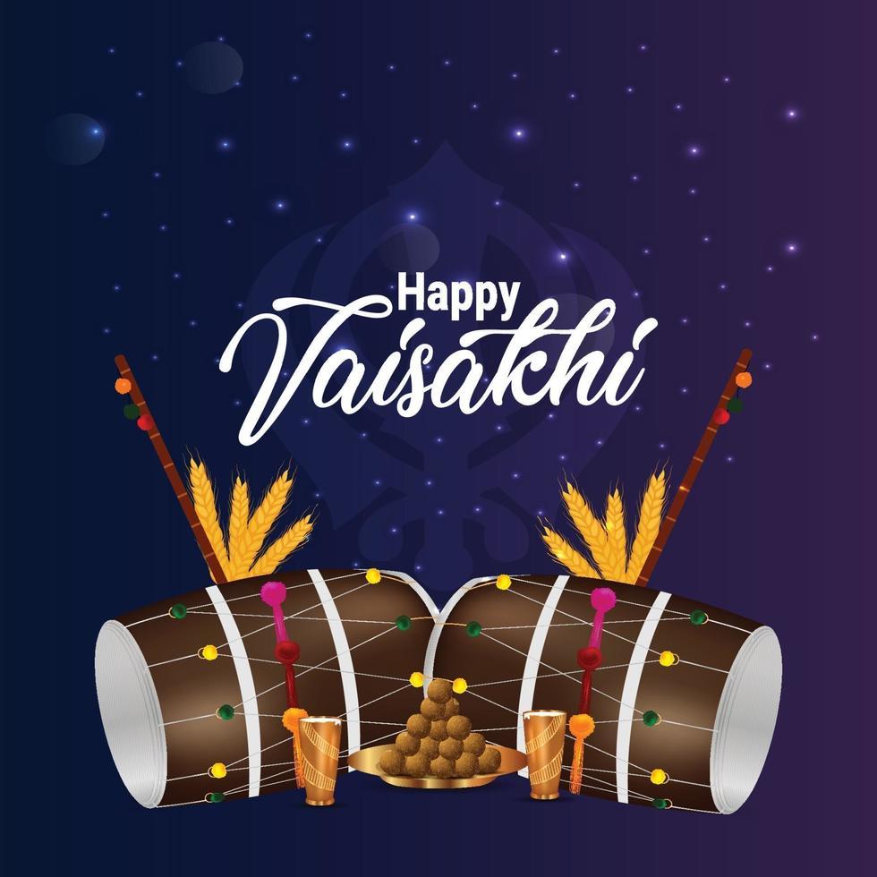 realistisk vaisakhi dhol och bakgrund vektor