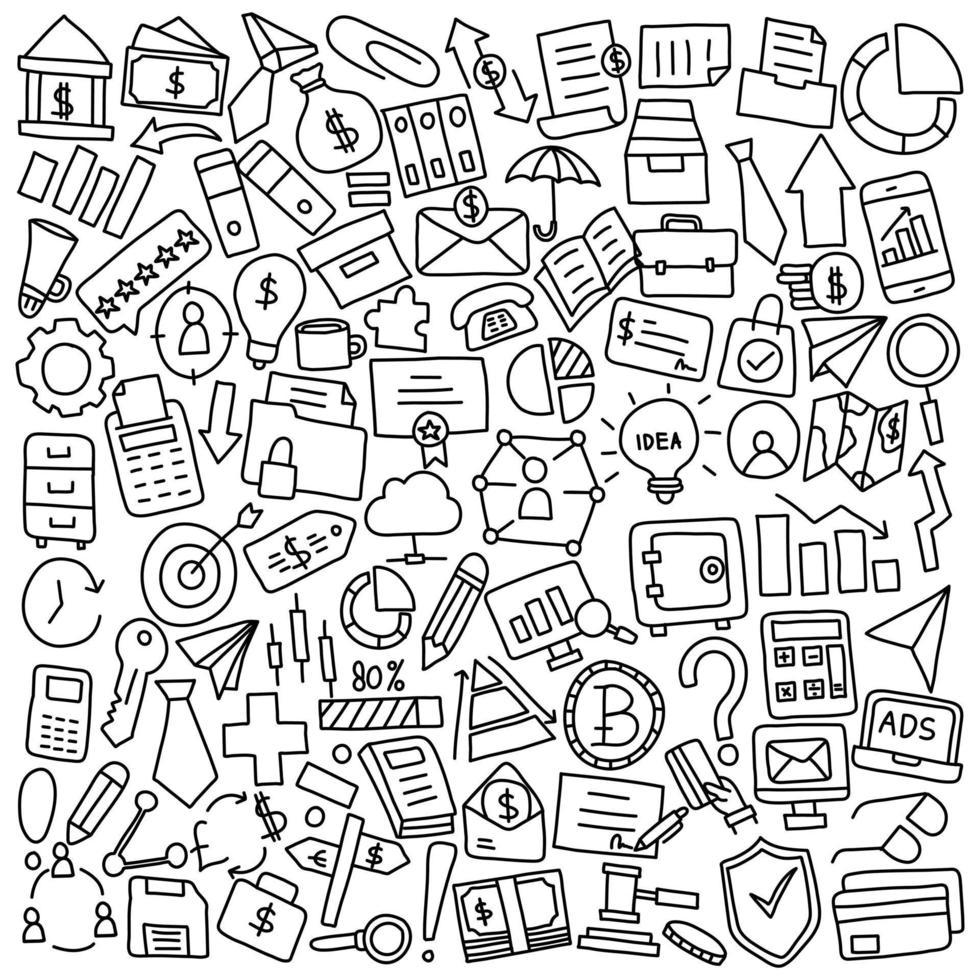 Doodle-Symbole für Geschäfts- und Büromaterial vektor