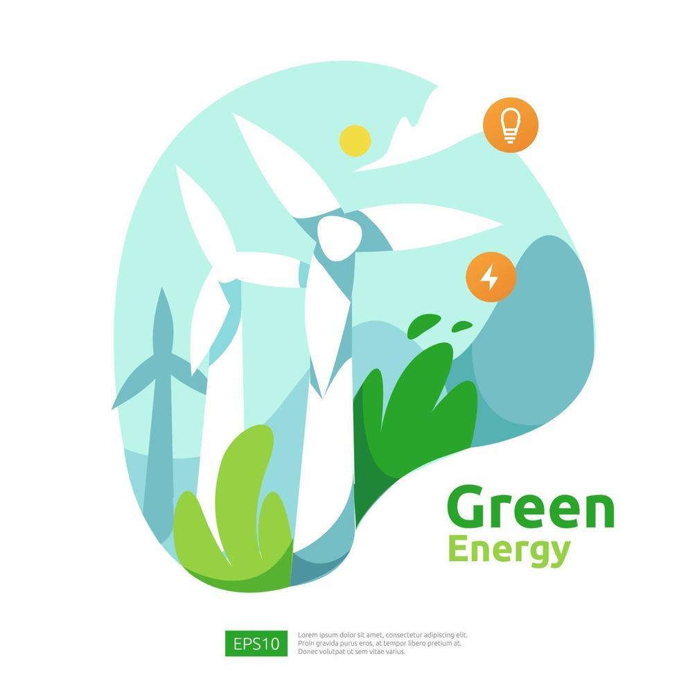 grüne saubere Energiequellen mit erneuerbaren elektrischen Sonnenkollektoren und Windkraftanlagen. Umweltkonzept für Web-Landingpage-Vorlagen, Banner, Präsentations-, Sozial- und Printmedien vektor