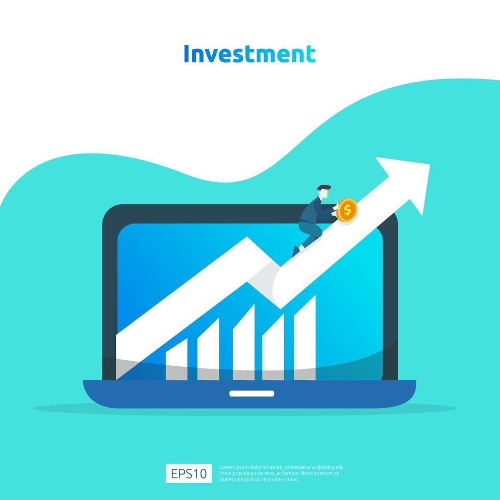 finansiella resultat avkastning på investering ROI. inkomst löneförhöjning koncept illustration med människor karaktär och pil. affärsvinsttillväxt, försäljning växa marginalintäkter med dollarsymbol vektor