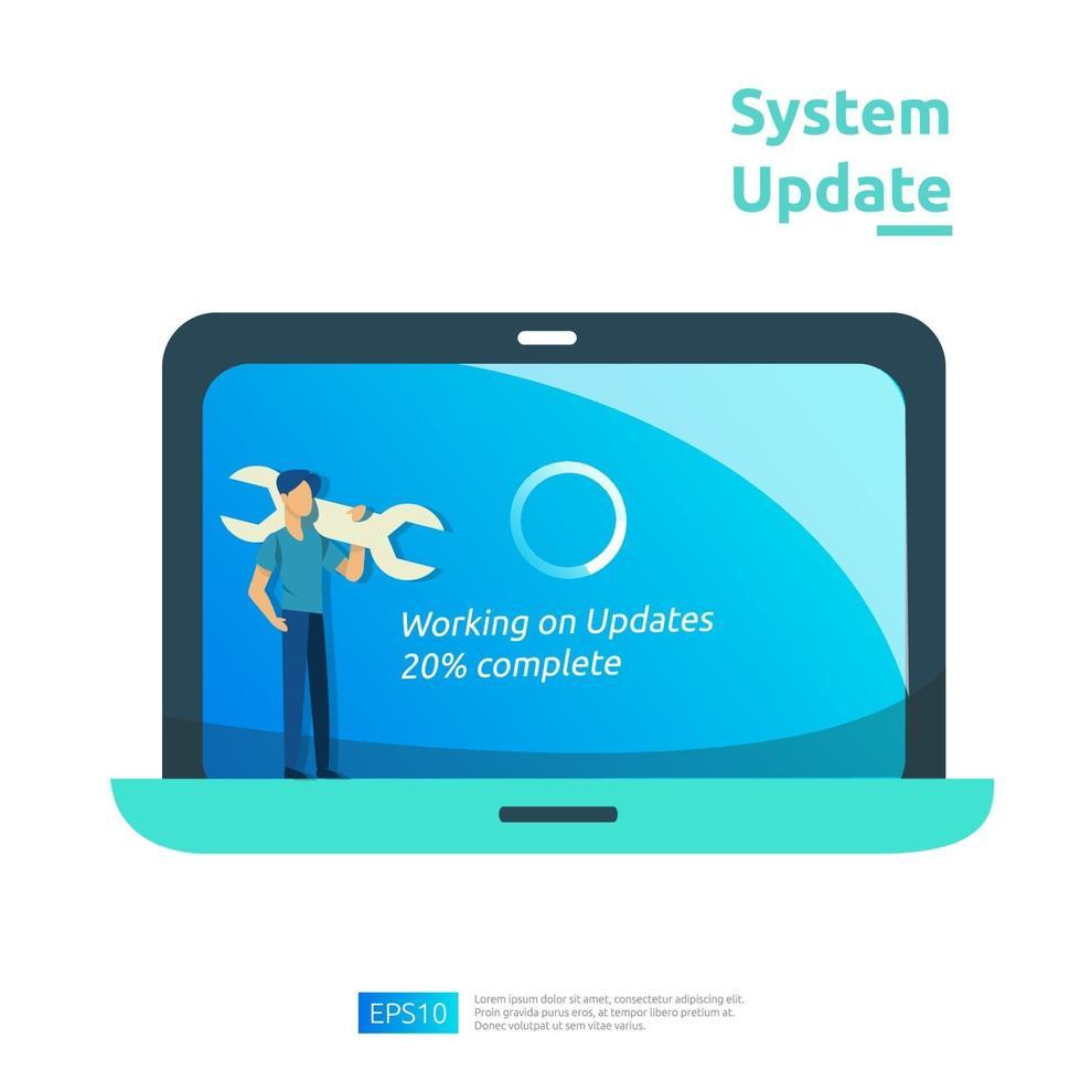 Aktualisieren Sie das Fortschrittskonzept des Betriebssystems, den Datensynchronisierungsprozess und das Installationsprogramm. Illustration Web Landing Page Vorlage, Banner, Präsentation, UI, Poster, Anzeige, Promotion oder Printmedien. vektor