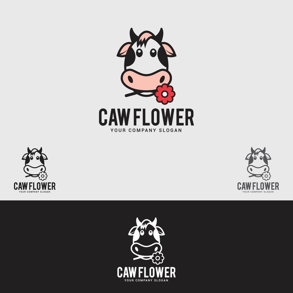 Kuh-Blumen-Logo-Designvektorschablone vektor