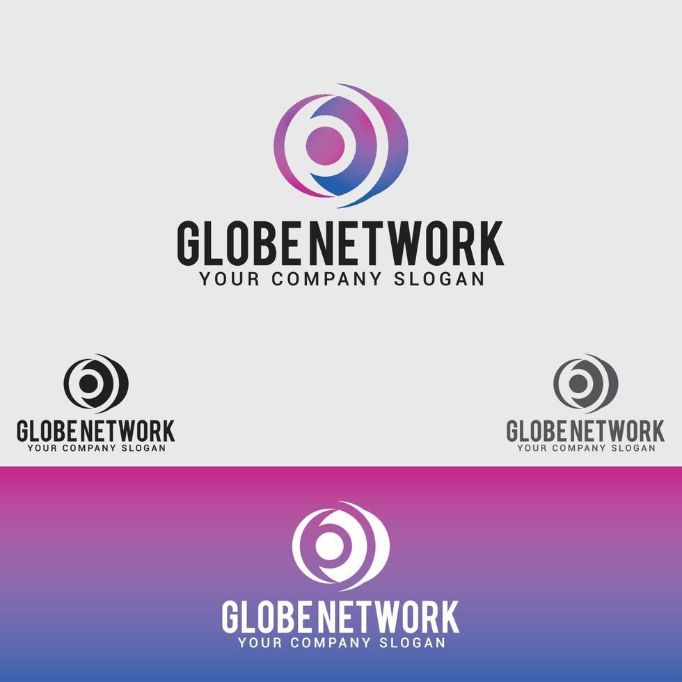 globe-nätverk logo design vektor mall