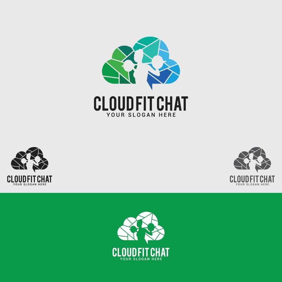cloud-fit-chat logotyp designmall vektor