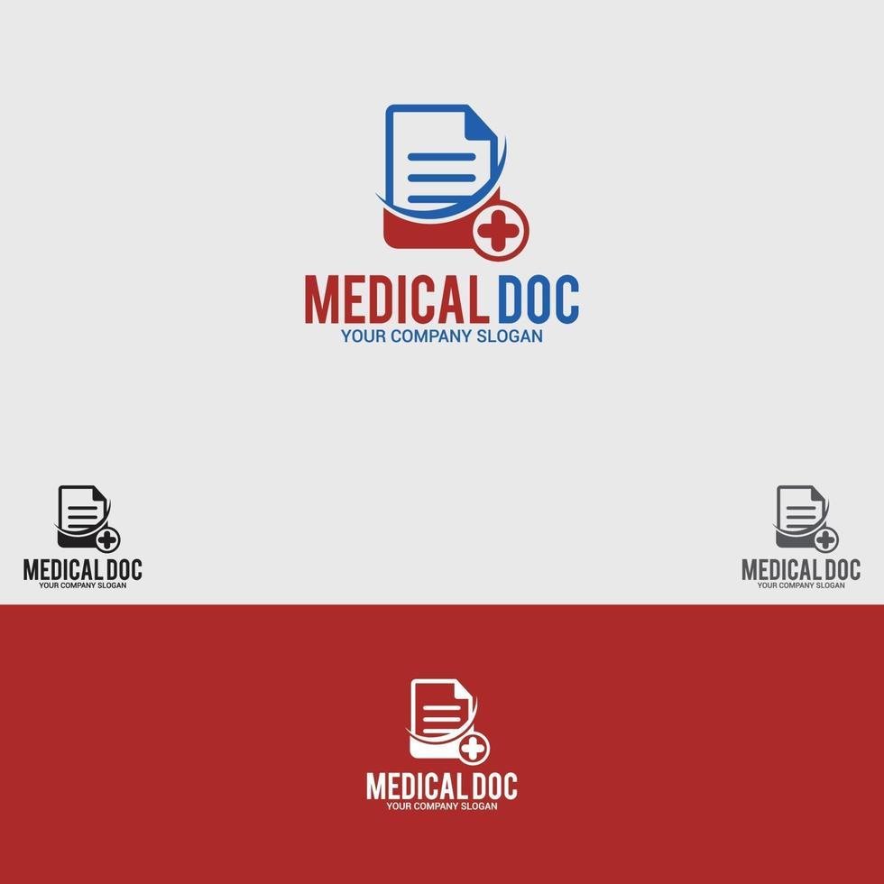 Medical-Doc Logo Design Vektor Vorlage