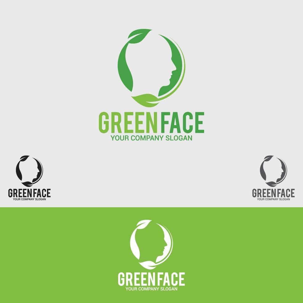 grünes Gesicht Logo Design Vektor Vorlage