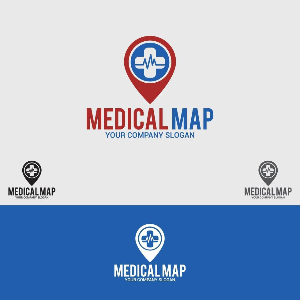 Medical-Map-Logo-Design-Vektor-Vorlage vektor