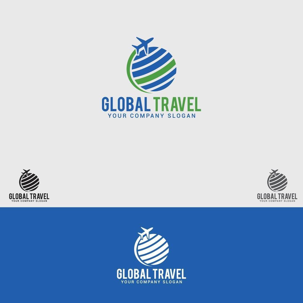 Global-Travel Logo Design Vektor Vorlage