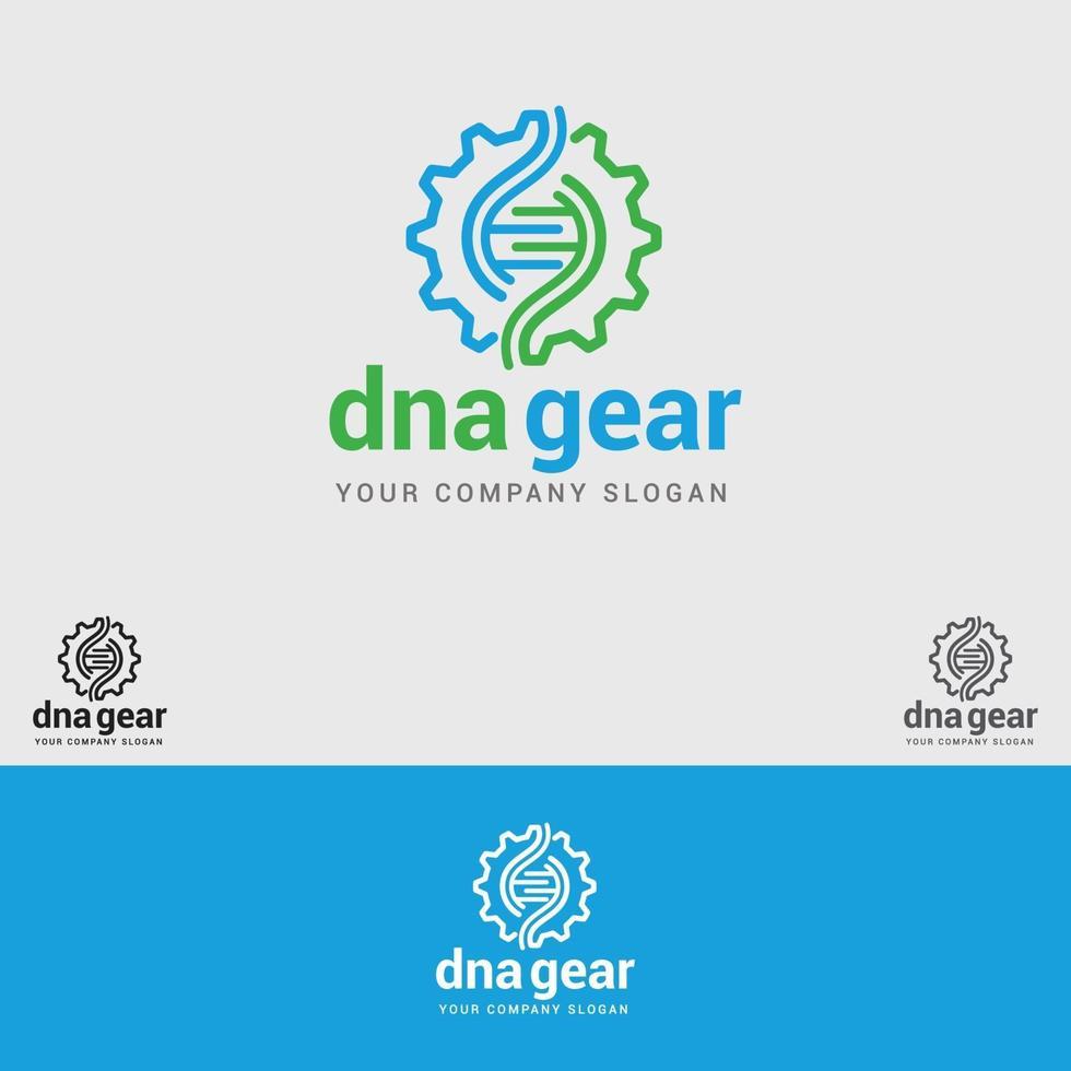 Designvorlage für DNA-Zahnradlogos vektor