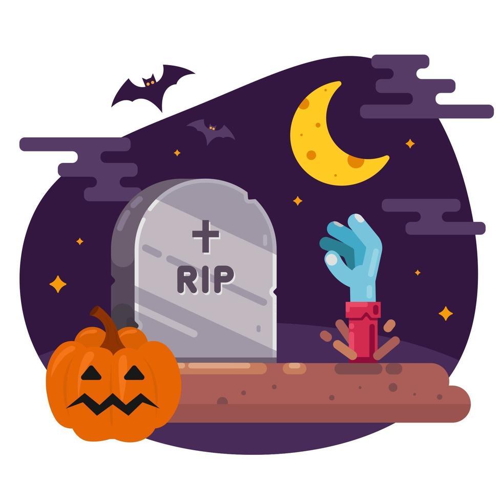 die Auferstehung der Toten aus dem Grab. Illustration für Halloween. flaches Vektorbild. vektor