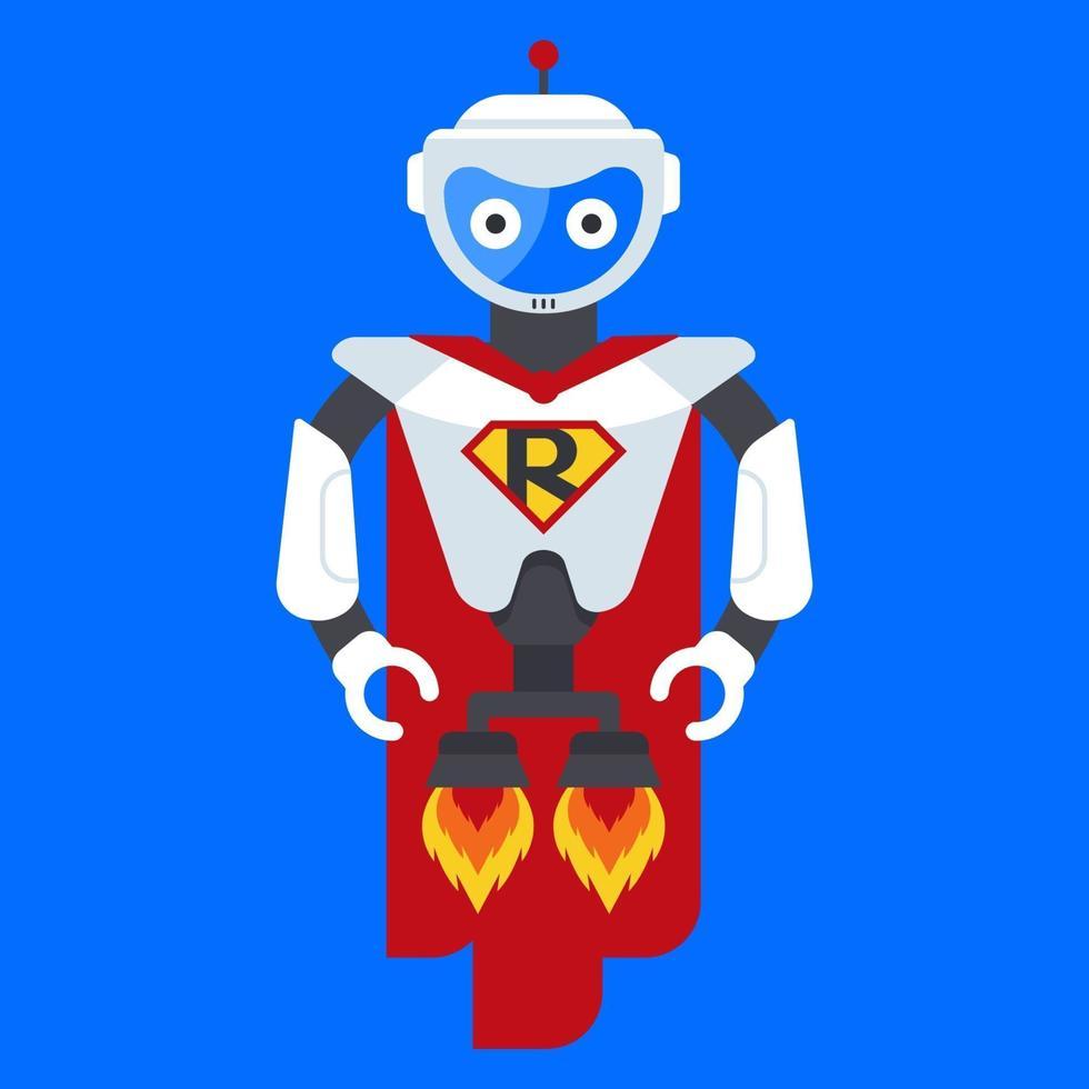 järnrobot superhjälte. karaktär från framtiden. science fiction hjältar. platt vektorillustration. vektor