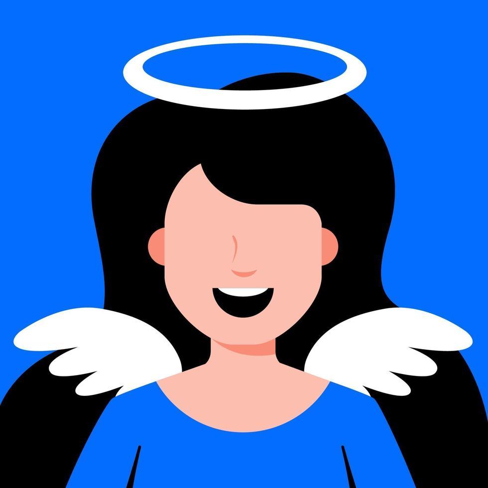 Engelsmädchen mit Flügeln. Cosplay für religiöse Kostüme. flache Zeichenvektorillustration. vektor