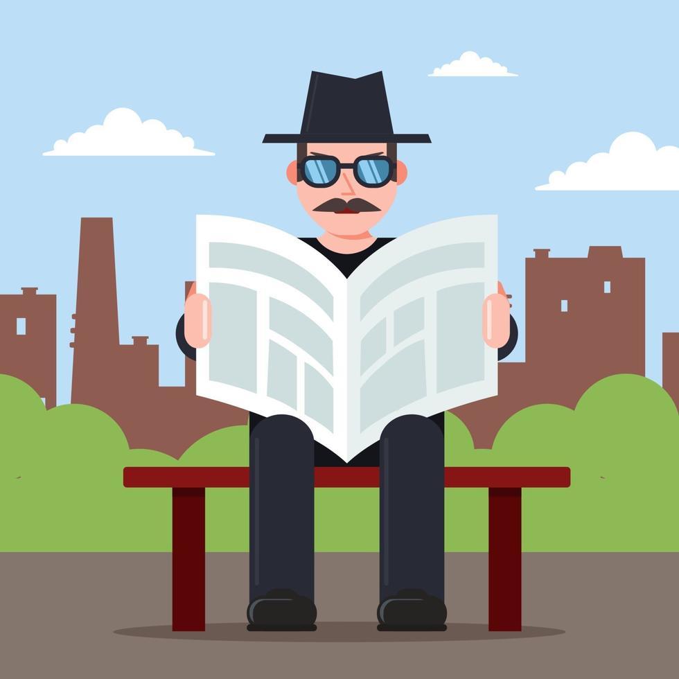 Spion sitzt auf einer Bank mit einer Zeitung in den Händen und einem Hut. geheimer Beobachtercharakter. flache Vektorillustration. vektor