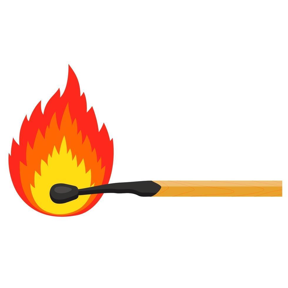 brennendes Streichholz auf weißem Hintergrund. flache Vektorillustration vektor