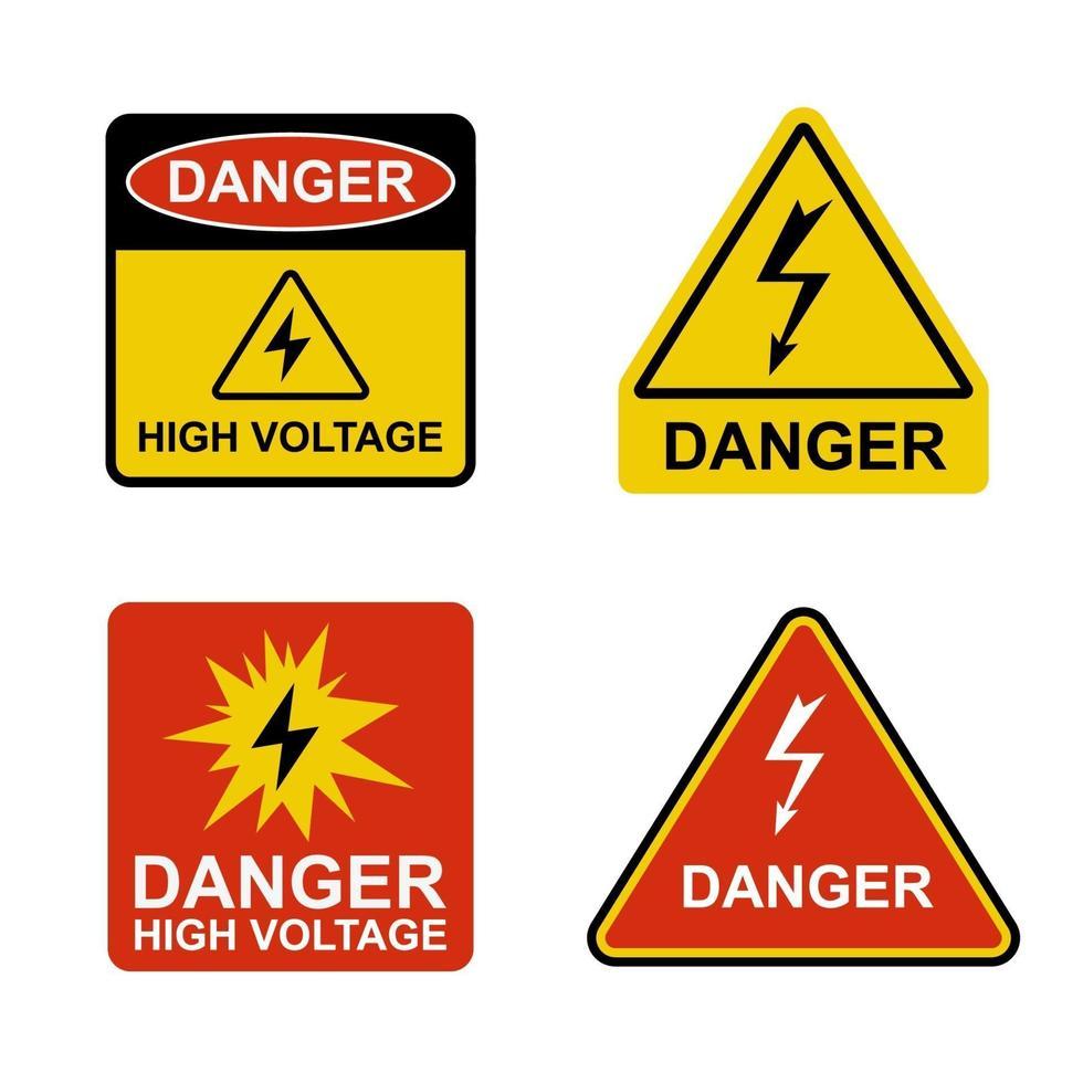 uppsättning klistermärken farligt hög spänning. platt vektorillustration vektor