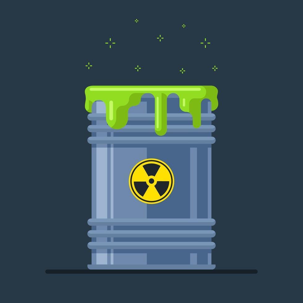 Ein beschädigtes Atommüllfass strahlt Strahlung aus. ökologische Katastrophe. flache Vektorillustration vektor