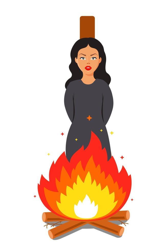häxan brinner på bålet. offer för religiös terror. platt vektorillustration. vektor
