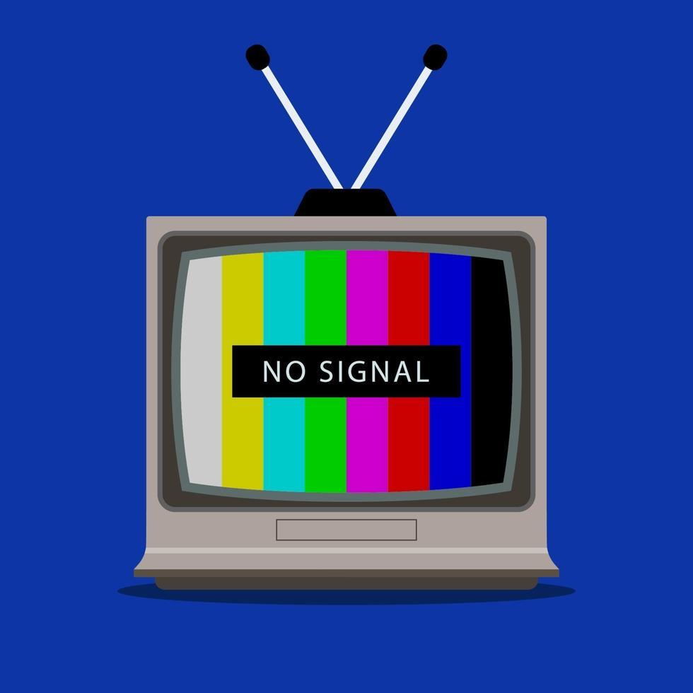 tv mottar inte tv-signal. övervaka med en regnbåge. platt vektorillustration. vektor