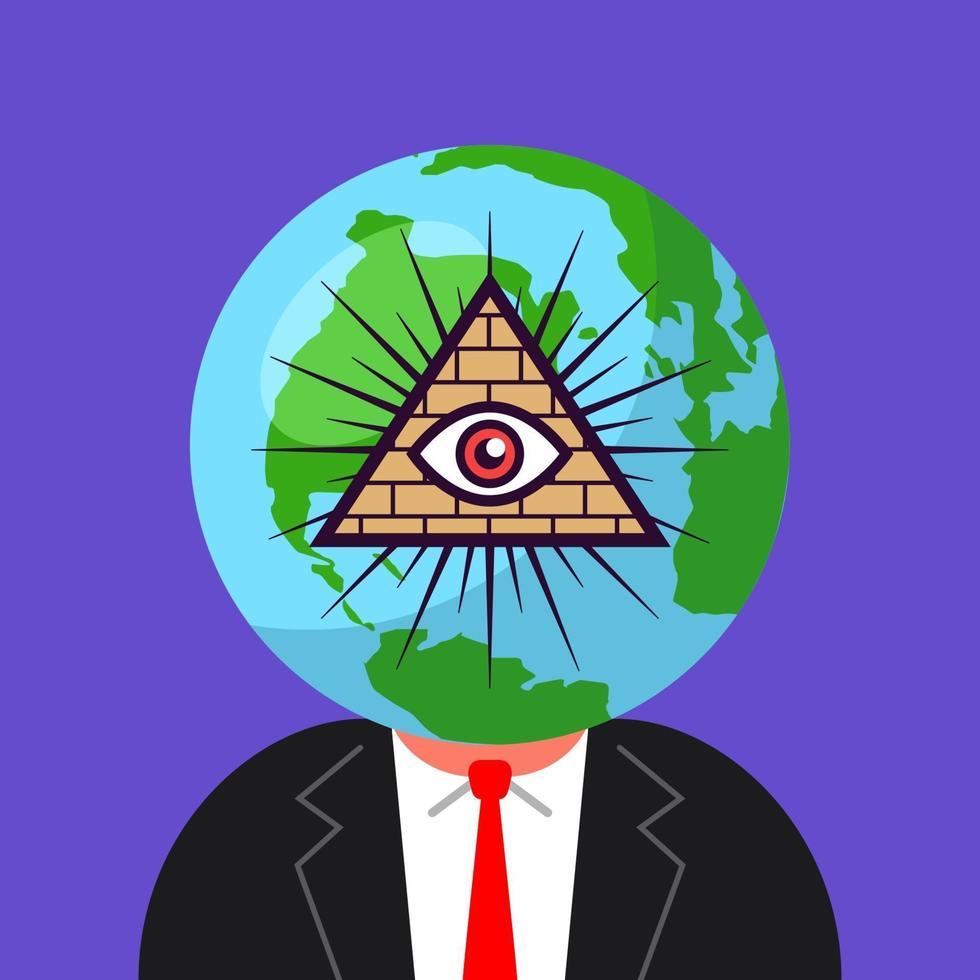 Weltregierung der Freimaurer. Mann mit einem Planeten auf dem Kopf. flache Vektorillustration vektor