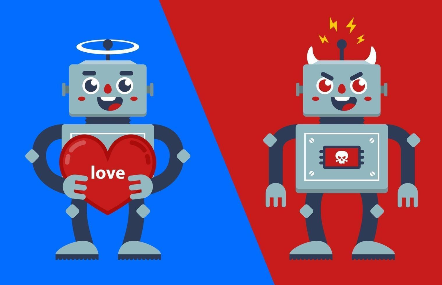 god och ond robot. ängel och demon. platt vektor tecken illustration.