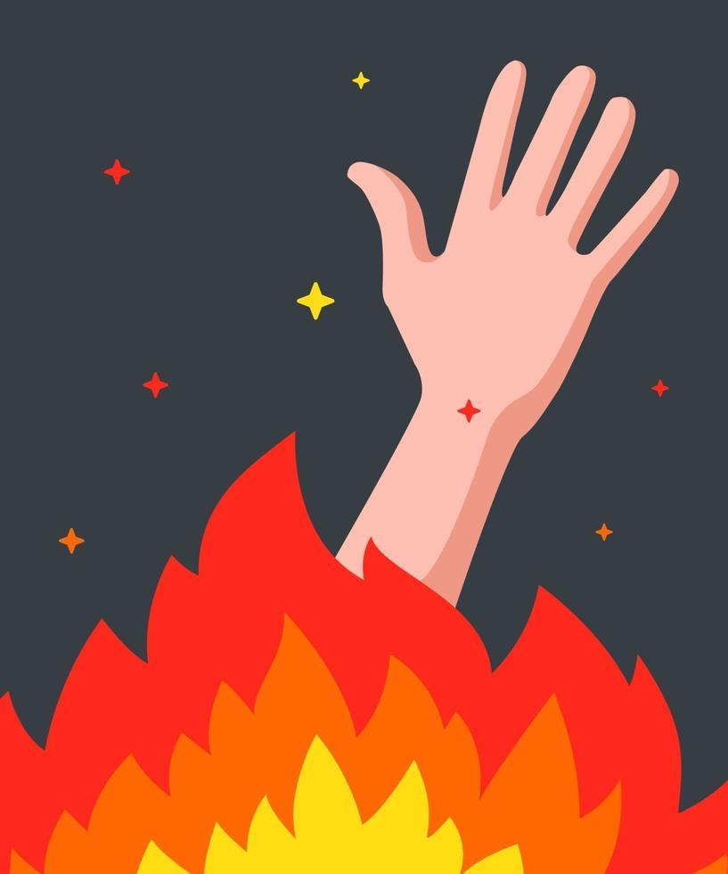 Mann brennt in einem Feuer. Bitte um Hilfe. flache Vektorillustration vektor