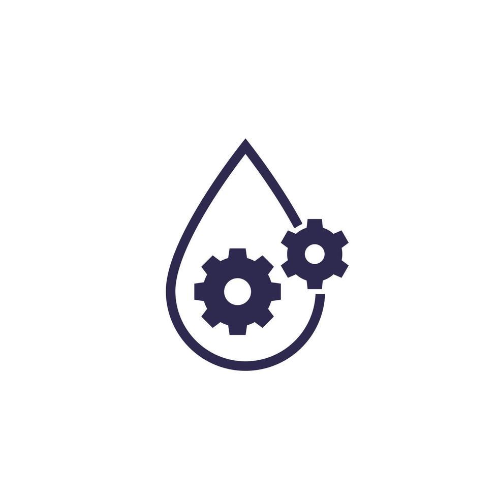 Schmiermittel, Ölsymbol, Tropfen und Zahnräder vektor