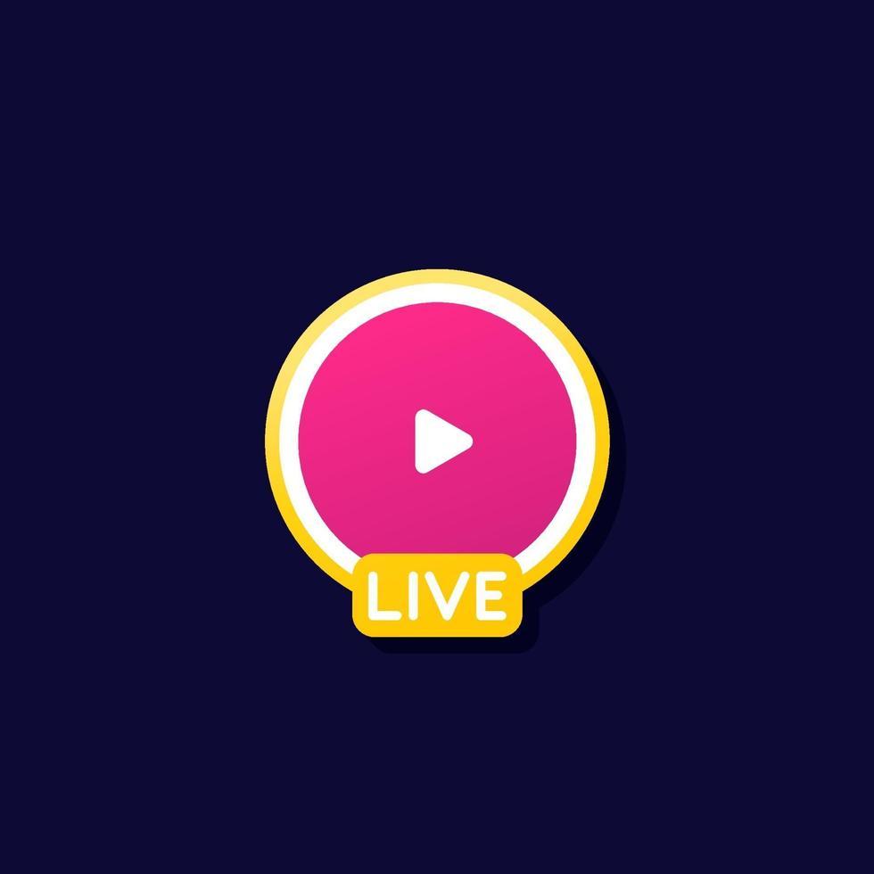 Live-Stream-Symbol für Apps und web.eps vektor