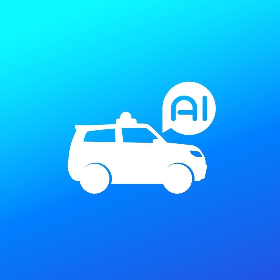 autonomes auto, suv mit ai vector icon.eps
