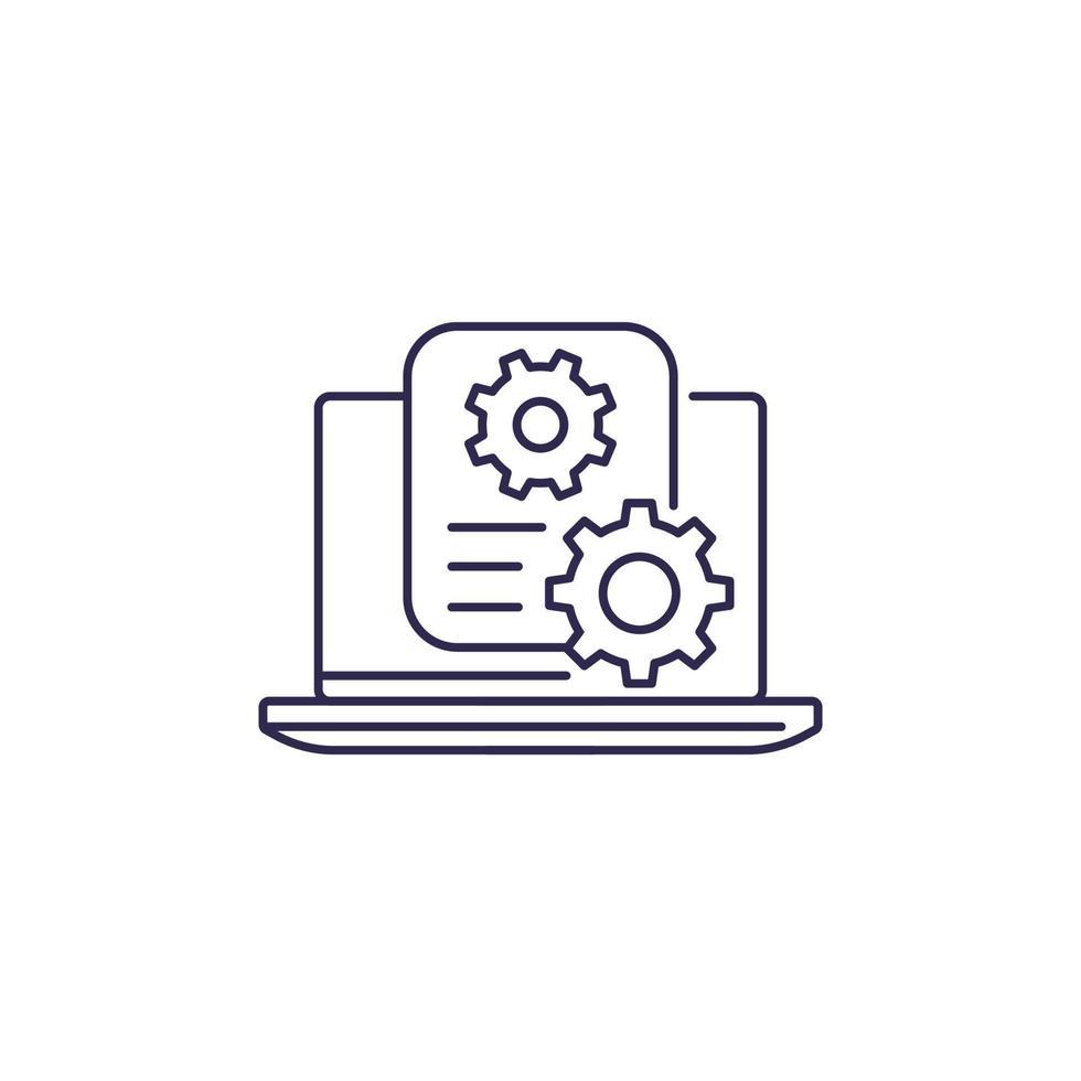 Einstellungsdateizeilensymbol auf white.eps vektor