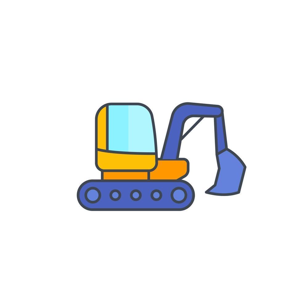 grävmaskin ikon på vitt med outline.eps vektor