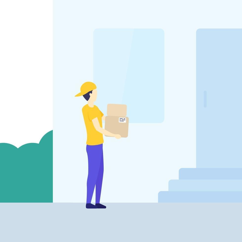 Bote hält Kisten vor dem Haus vektor