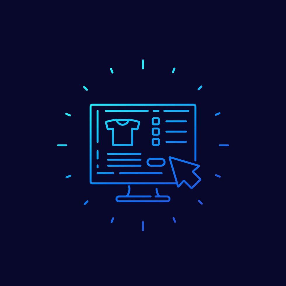 Online-Shopping, online kaufen, lineare icon.eps vektor