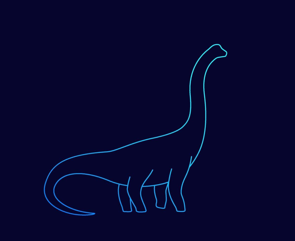 Dinosaurier, Brachiosaurus-Silhouette, linearer vector.eps vektor