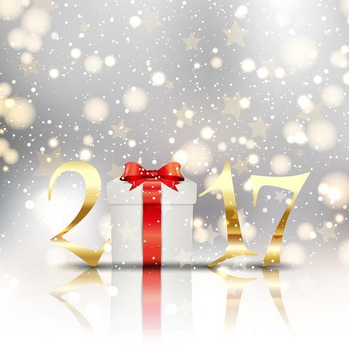 Gott nytt år bakgrund med gåva vektor