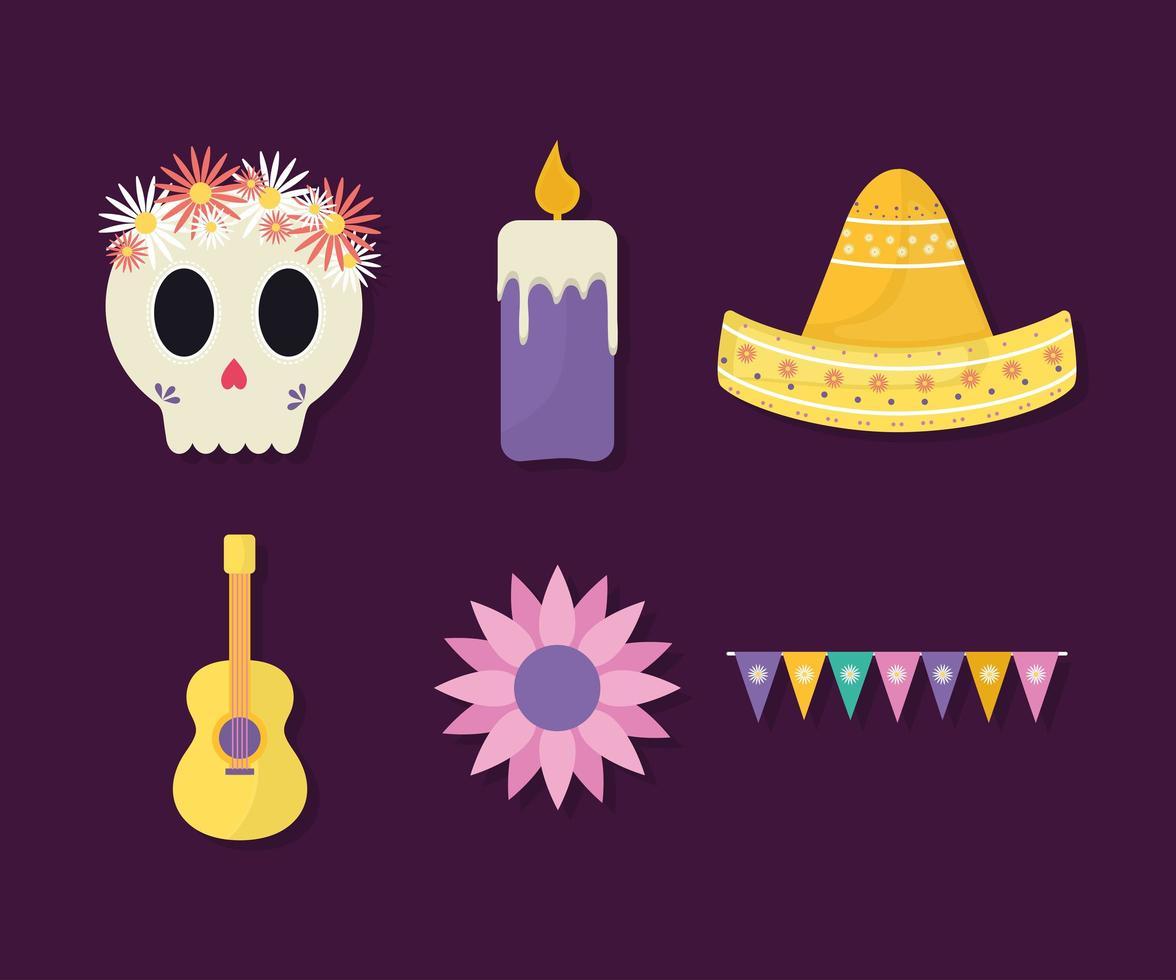 mexikanischer Tag des toten Ikonensatzvektordesigns vektor