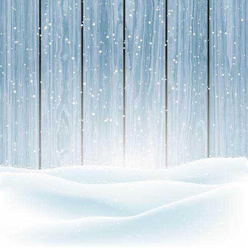 Vinter snö på trä bakgrund vektor