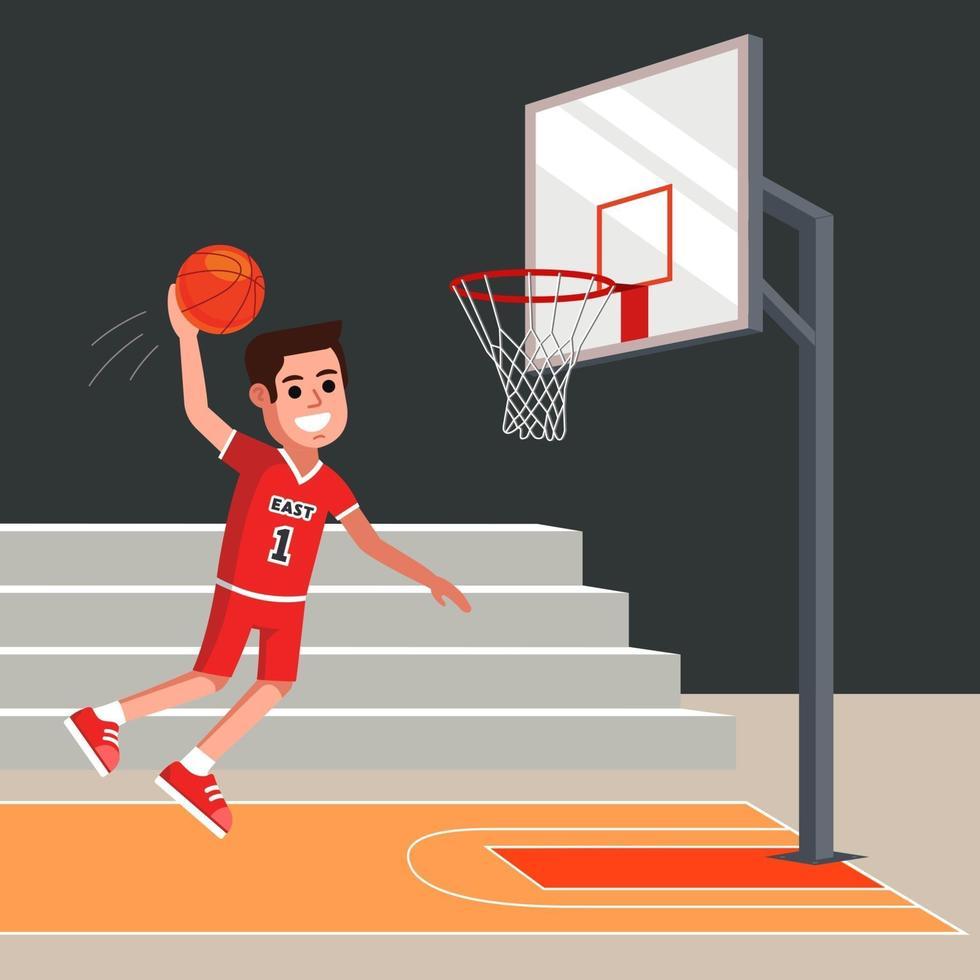 Basketballspieler wirft einen orangefarbenen Ball in den Korb. flache Zeichenvektorillustration. vektor