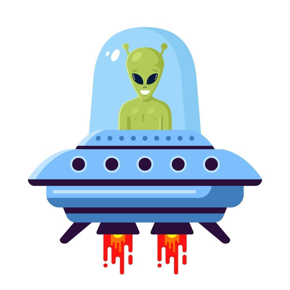 grüner niedlicher Alien in einem UFO auf einem weißen Hintergrund. flache Vektorillustration vektor