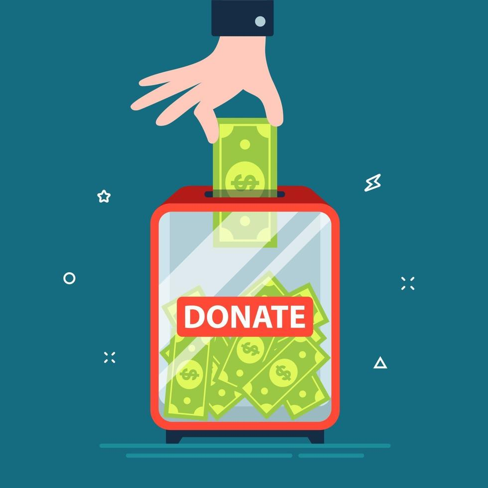 Hand legt Dollar in Spendenbox. Nächstenliebe von den Reichen. flache Vektorillustration. vektor