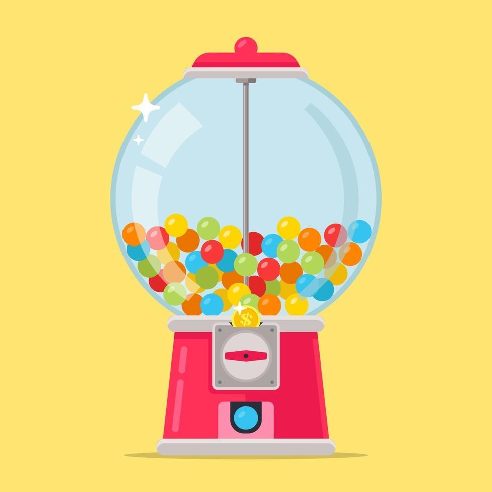 rosa Süßigkeitenmaschine für Kinder. mehrfarbige Kaukugeln. flache Vektorillustration. vektor