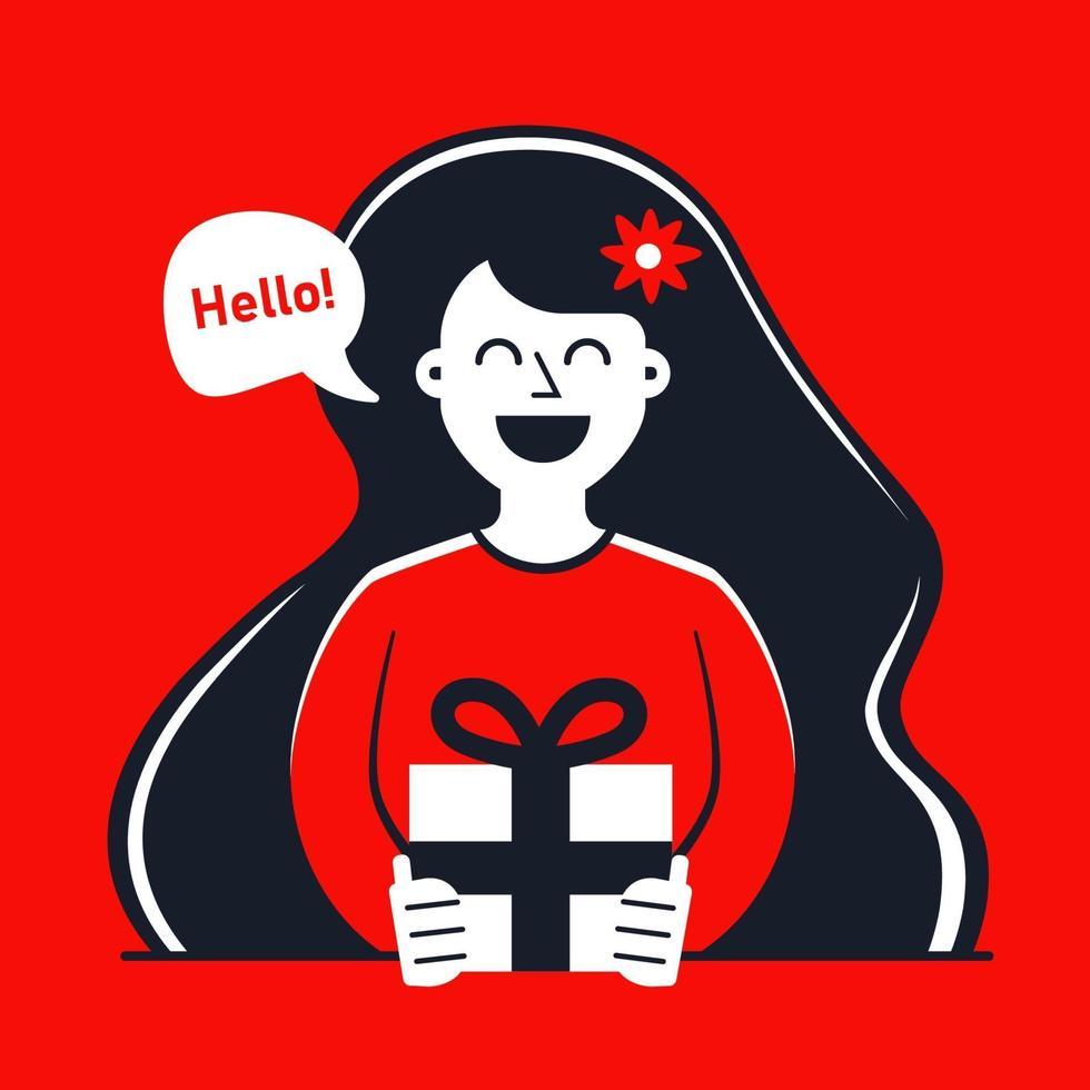 Mädchen gibt ein Geschenk am Jahrestag einer Beziehung. flache kontrastierende Zeichenvektorillustration. vektor