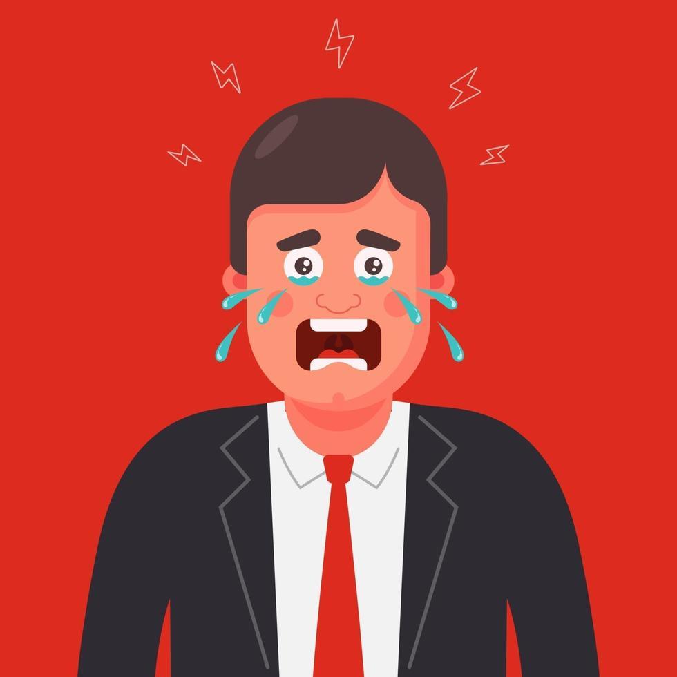 Ein Mann in Anzug und Krawatte weint. Panik attacke. flache Zeichenvektorillustration. vektor