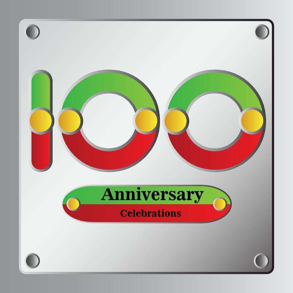 100 Jahre Jubiläum Vektor Vorlage Design Illustration