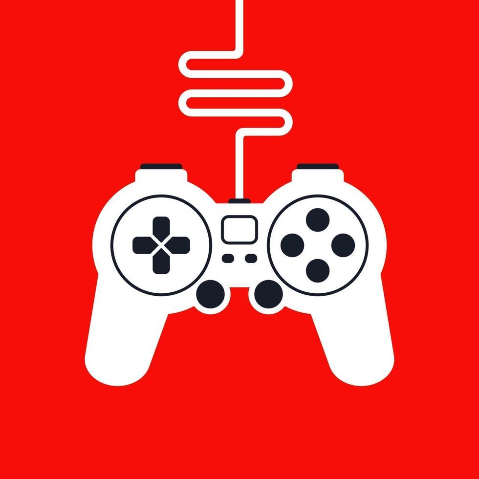 Silhouette eines Spiel-Joysticks mit Draht für Computerspiele. flache Vektorillustration. vektor