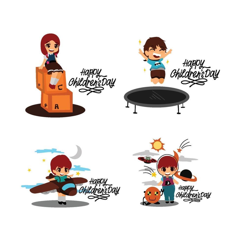 Happy Childrens Day Design Set vektor